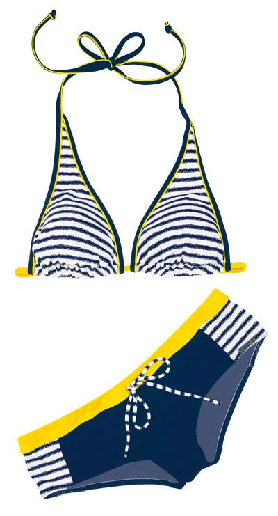 maritimer triangel bikini mit hotpants gr 34b von olympia. Black Bedroom Furniture Sets. Home Design Ideas